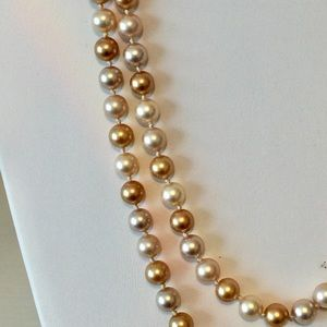 """NWT Ralph Lauren Champagne Pearl 60"""" Rope Necklace"""